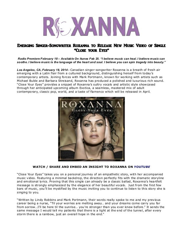 """Emerging singer songwriter roxanna to release new music video of single """"close your eyes"""""""