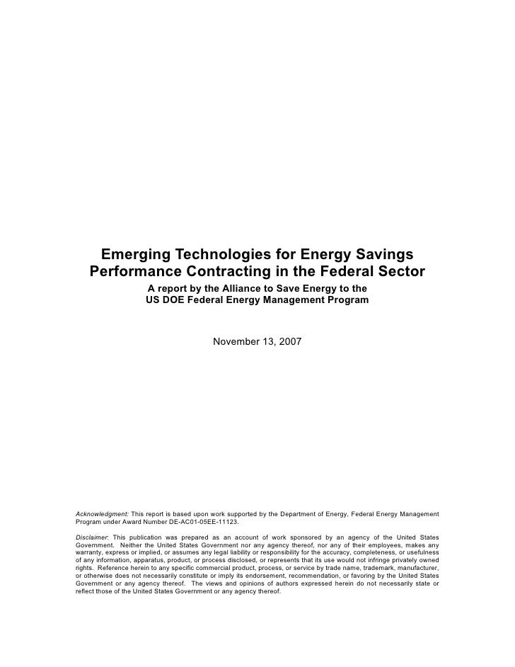 Emerging Technologies for Energy Savings    Performance Contracting in the Federal Sector                       A report b...