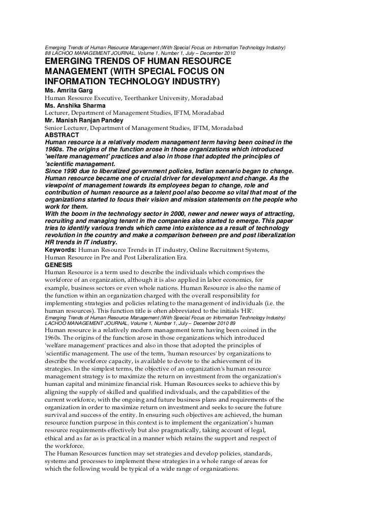 Emerging Trends of Human Resource Management (With Special Focus on Information Technology Industry)88 LACHOO MANAGEMENT J...