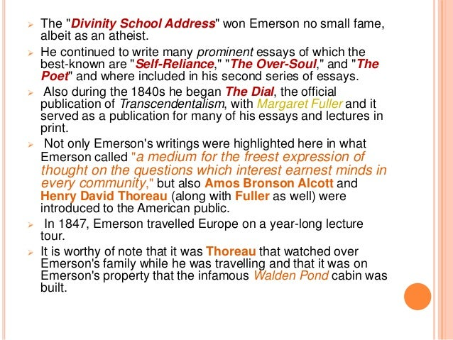 emerson essays excerpts The digital journals of ralph waldo emerson an introduction welcome to the digital journals of ralph waldo emerson, an archive provided by the ralph waldo emerson institute for the use and convenience of interested students of the life and.