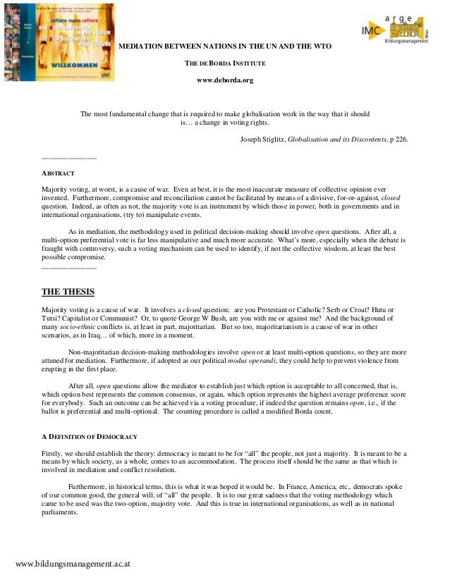 MEDIATION BETWEEN NATIONS IN THE UN AND THE WTO THE DE BORDA INSTITUTE www.deborda.org  The most fundamental change that i...