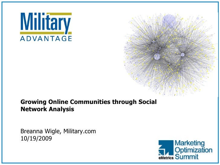 <ul><ul><li>Growing Online Communities through Social Network Analysis </li></ul></ul><ul><ul><li>Breanna Wigle, Military....