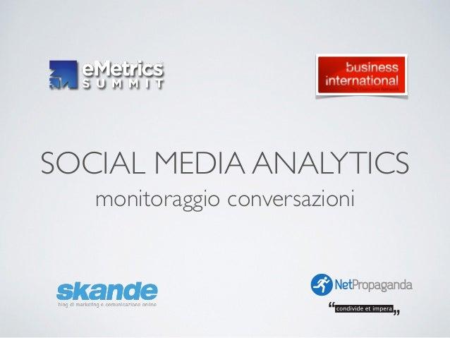 SOCIAL MEDIA ANALYTICS monitoraggio conversazioni