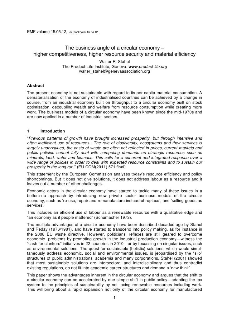 EMF volume 15.05.12,   exStockholm 16.04.12                The business angle of a circular economy –    higher competitiv...