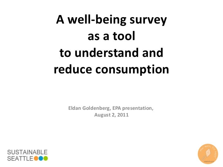 A well-being survey as a tool to understand and reduce consumption