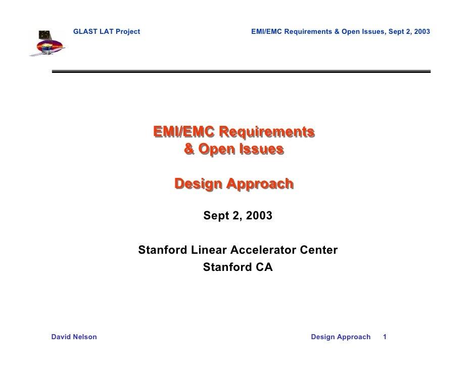 GLAST LAT Project                  EMI/EMC Requirements & Open Issues, Sept 2, 2003                         EMI/EMC Requir...