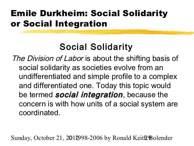 the social solidarity of emile durkheims theories to be true