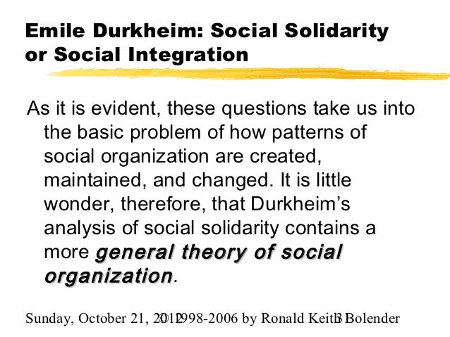 emile durkheim social solidarity essay Suicide by emile durkheim in that he was largely interested in the workings and organs of society that generated social solidarity in the essay suicide a.