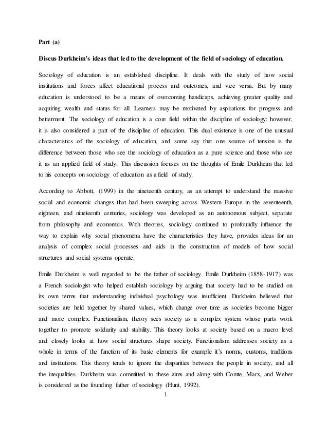 emile durkheim term paper This 5 page paper looks at the book by emile durkheim called 'suicide : a study in sociology' in this book durkheim identifies society as an influencing factor.