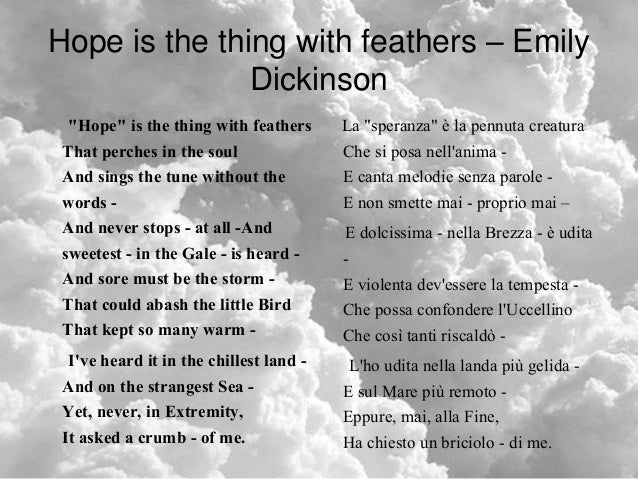 interpretation of emily dickinsons poem the Emily dickinson was a well-known poet of the mid-1800s whose numerous works  have stood the test of time but what in the world did her poems really.