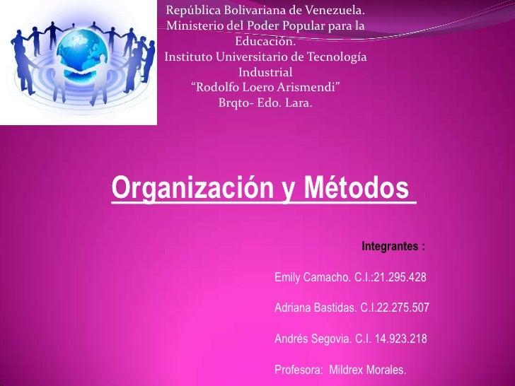 República Bolivariana de Venezuela.   Ministerio del Poder Popular para la                Educación.   Instituto Universit...