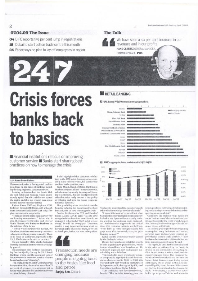 Sanjoy Sen - Emirates 24/7 - Crisis forces Banks back to basics - April 2009