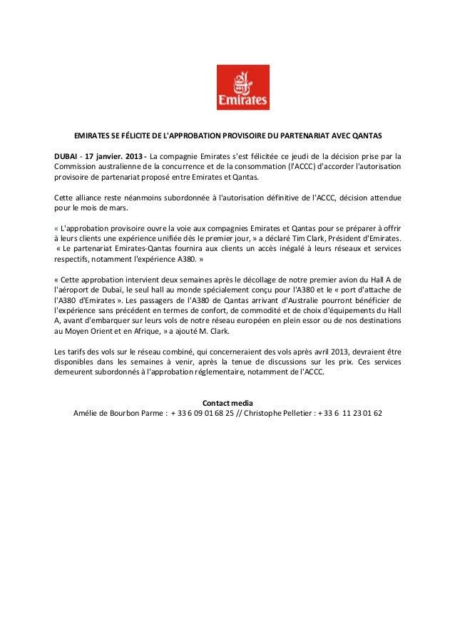 Emirates se félicite de l'approbation provisoire du partenariat avec qantas
