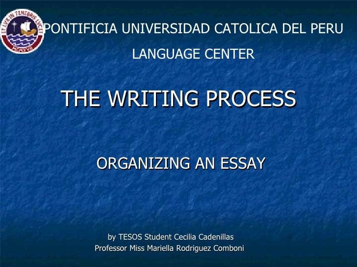 THE WRITING PROCESS <ul><li>ORGANIZING AN ESSAY </li></ul><ul><li>by TESOS Student Cecilia Cadenillas </li></ul><ul><li>Pr...