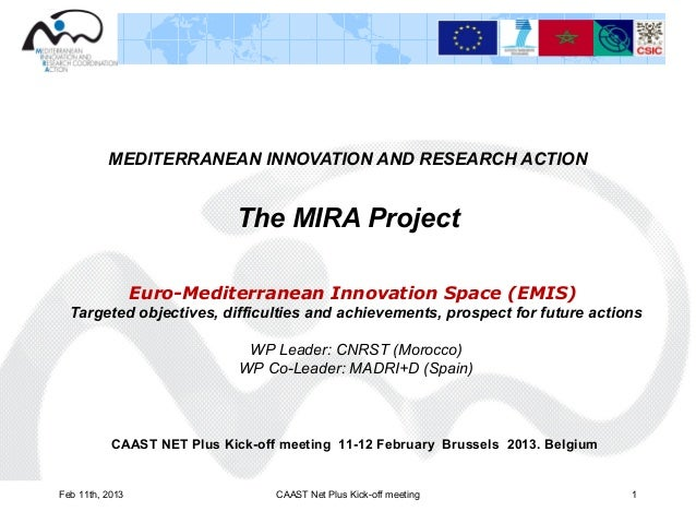 MEDITERRANEAN INNOVATION AND RESEARCH ACTION                            The MIRA Project                 Euro-Mediterranea...