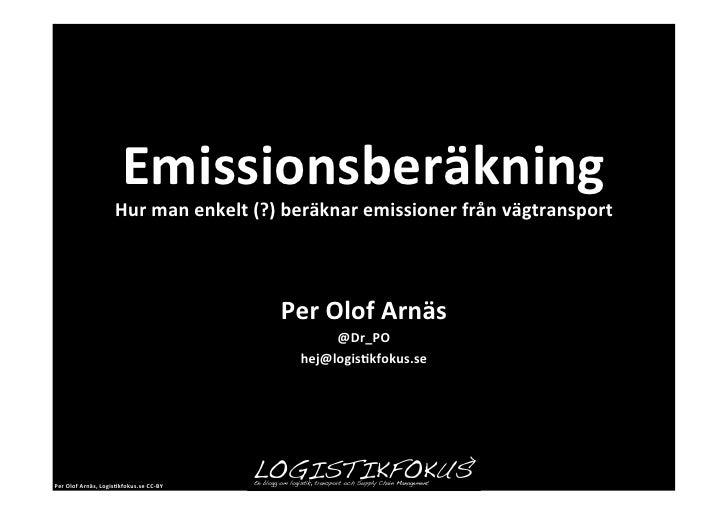 Emissionsberäkning för vägtransporter