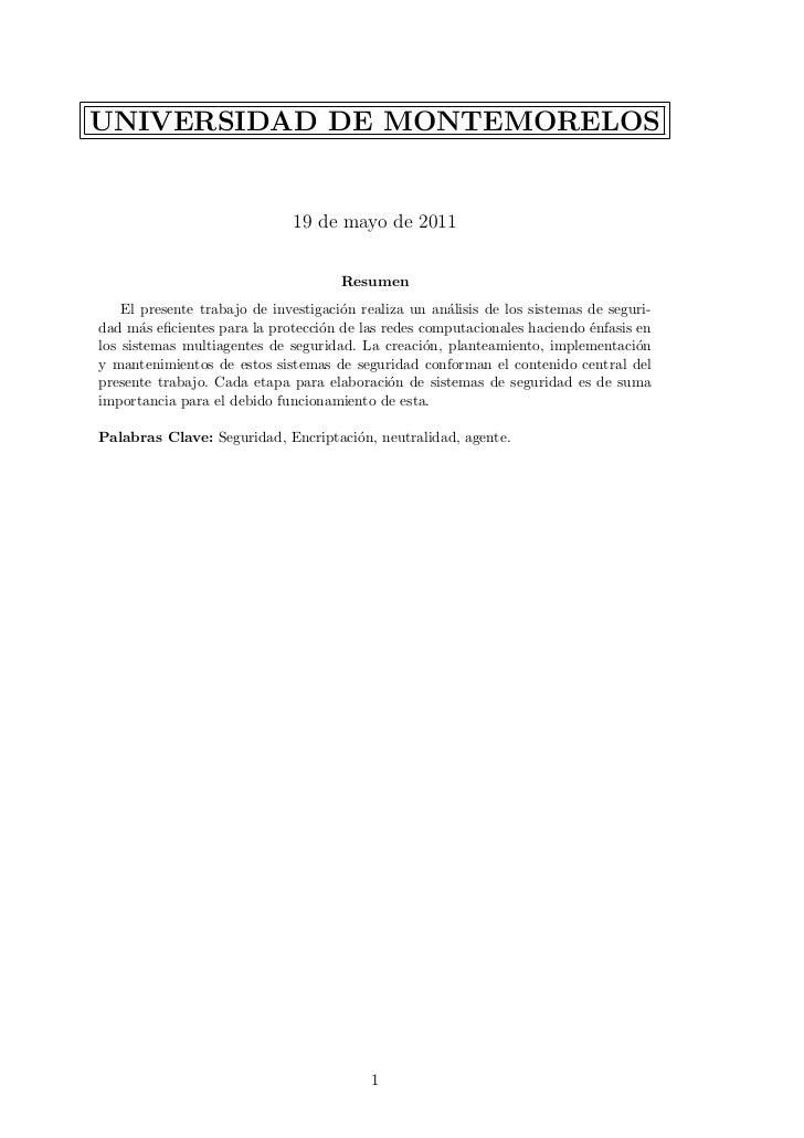 UNIVERSIDAD DE MONTEMORELOS                              19 de mayo de 2011                                      Resumen  ...