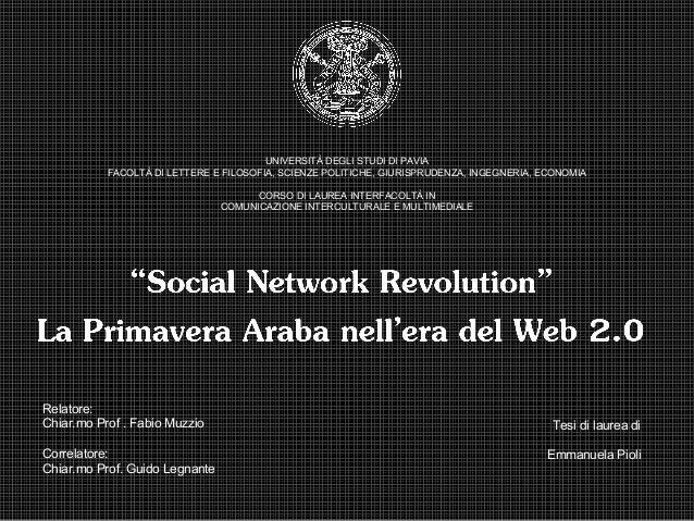 Social Network Revolutions - Primavera Araba e Web 2.0