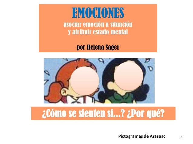 EMOCIONES asociar emoción a situación y atribuir estado mental por Helena Sager  ¿Cómo se sienten si...? ¿Por qué? Pictogr...