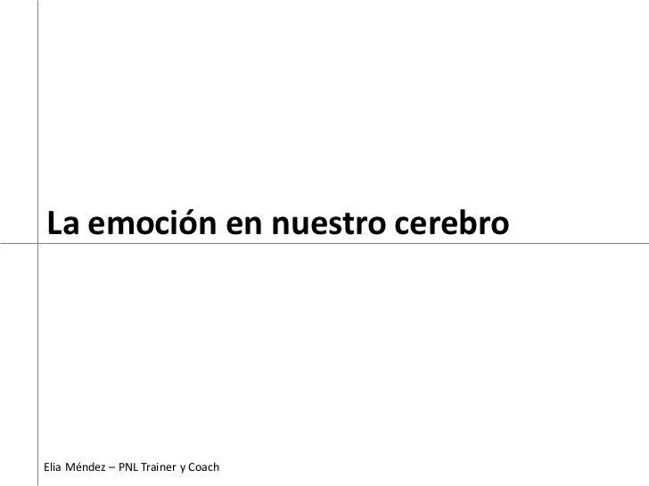 La emoción en nuestro cerebro     Elia Méndez – PNL Trainer y Coach