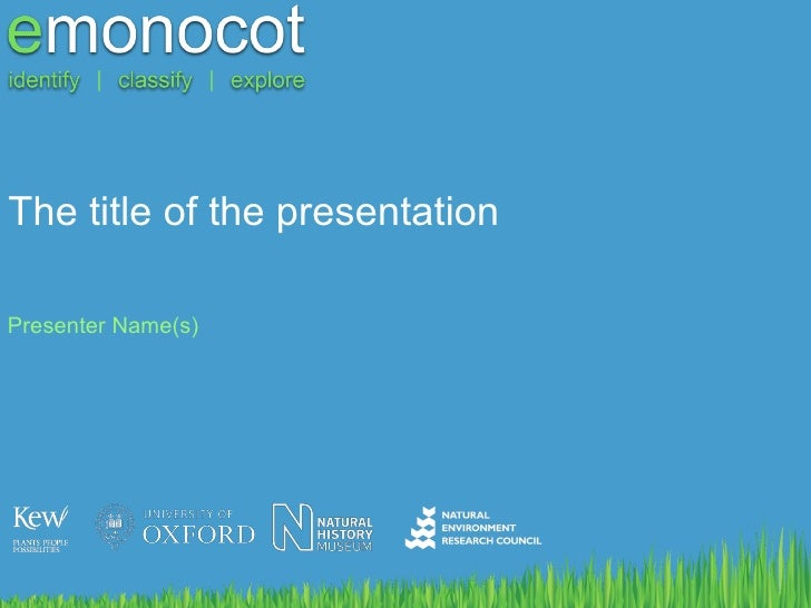 The title of the presentation Presenter Name(s)