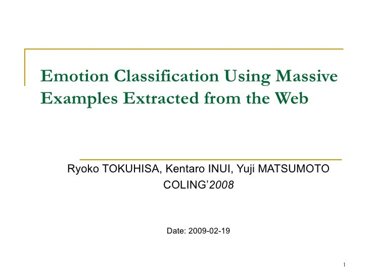 Emotion Classification Using Massive Examples Extracted From The Web