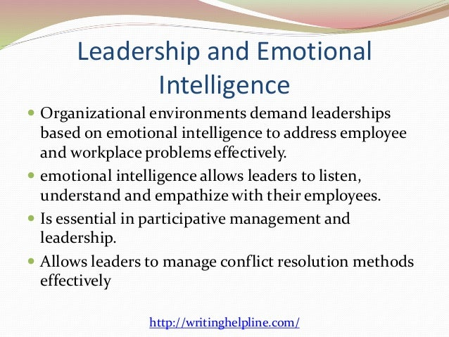 emotional intelligence its importance for leaders essay 2010-4-27  anna h l nordström leading with emotional intelligence spring 2010 0page of 32 effective leadership communications with emotional intelligence (ei) anna h linnea nordström.