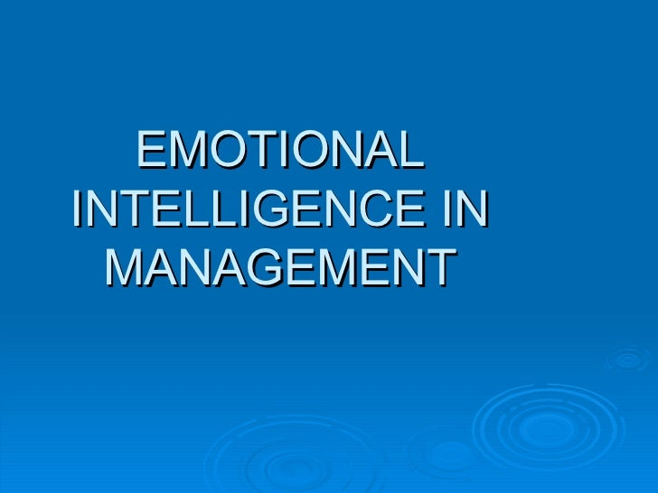 Emotional Intelligence In Management 3