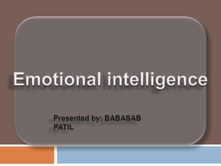 Emotional intelligence ppt @ bec bagalkot mba