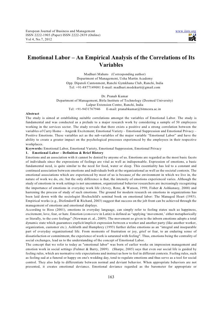 Emotional labor – an empirical analysis of the correlations of its variables