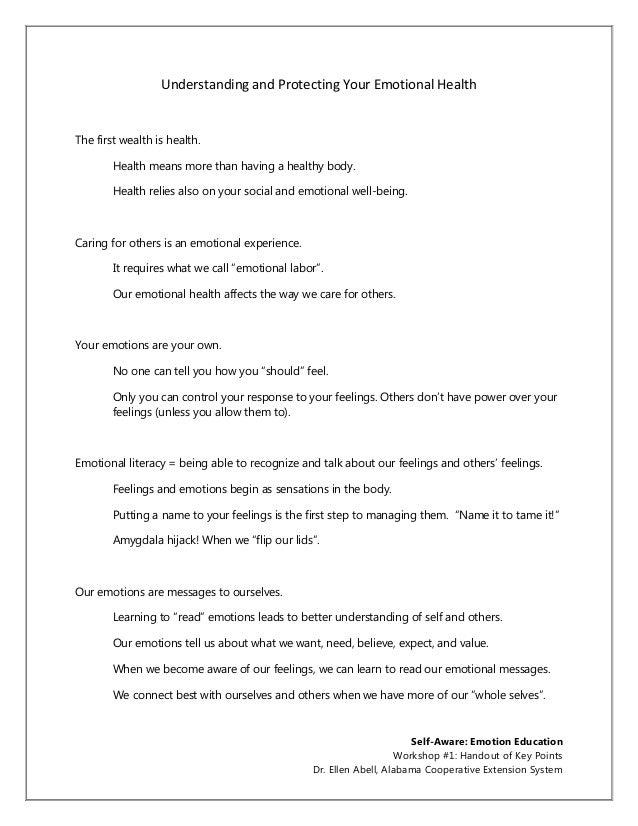 Emotion education #1 handout of key ideas ellen abell