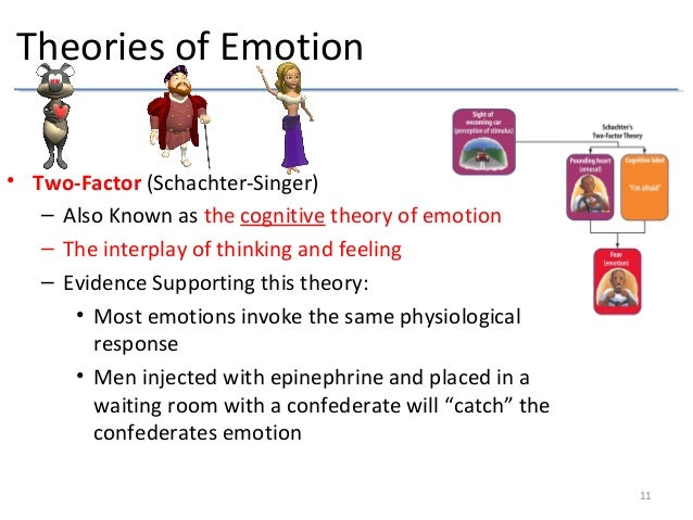 two factor theory of emotion The two-factor theory of emotion the third view of how emotion works was put forward in the 1960s it was based on an experiment carried out in 1962 by stanley schachter (1922-1997) and jerome singer, which saw 184 volunteers injected with either a saline solution or adrenaline.