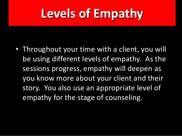 advanced empathy counselling A broad spectrum of therapeutic and educational approaches can draw upon and express empathy but conventional psychiatric diagnosis, psychiatric medication, electroshock and involuntary treatment suppress the individuality and the empathic potential of both the provider and the recipient.