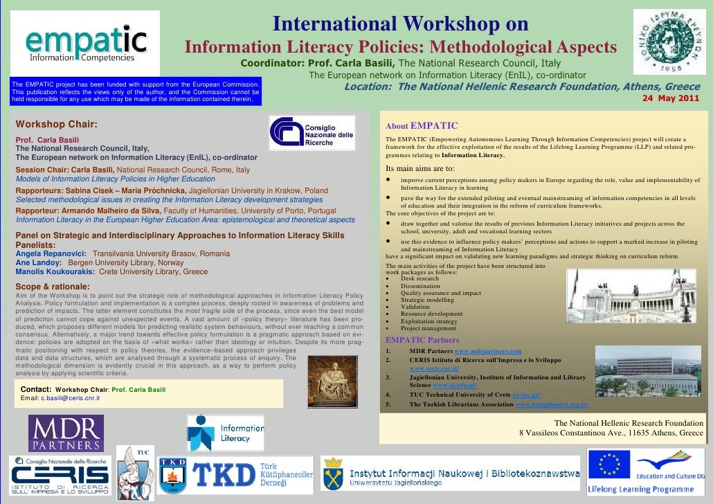 International Workshop on                                                          Information Literacy Policies: Methodol...