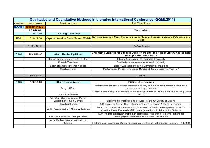 Qualitative and Quantitative Methods in Libraries International Conference (QQML2011)Session  Date / Time               Ev...