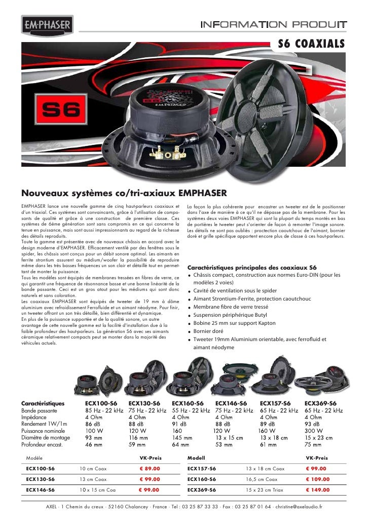 Emphaser ECX369-S6 coaxial autoprestige-autoradio