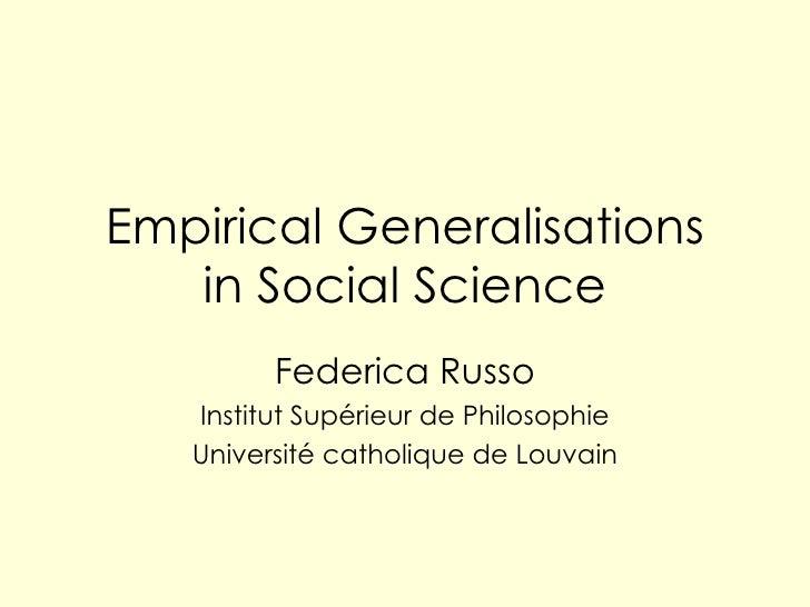 Empirical Generalisations Kent Nov07