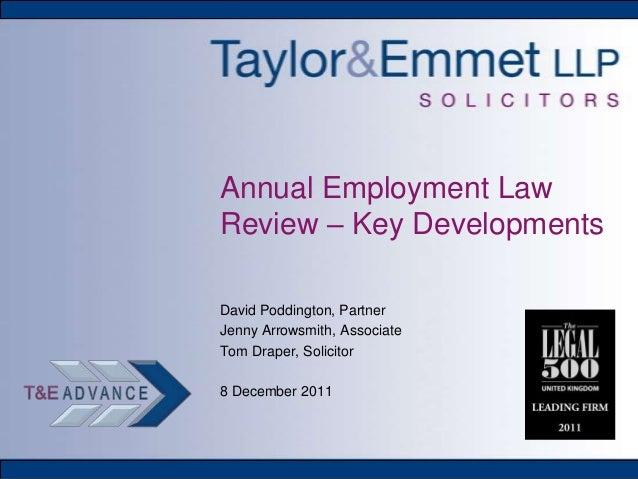 Annual Employment Law Review – Key Developments
