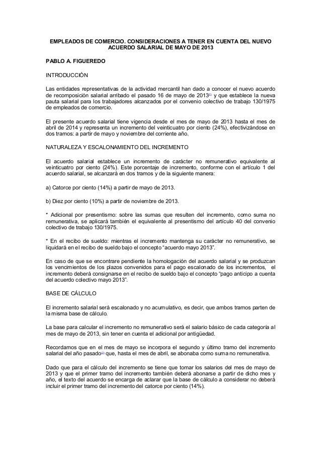 EMPLEADOS DE COMERCIO. CONSIDERACIONES A TENER EN CUENTA DEL NUEVOACUERDO SALARIAL DE MAYO DE 2013PABLO A. FIGUEREDOINTROD...