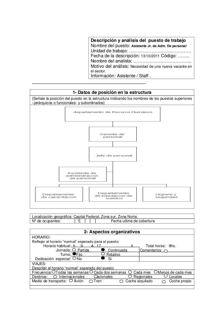 Descripción y análisis del puesto de trabajo                                  Nombre del puesto: Asistente Jr. de Adm. De ...