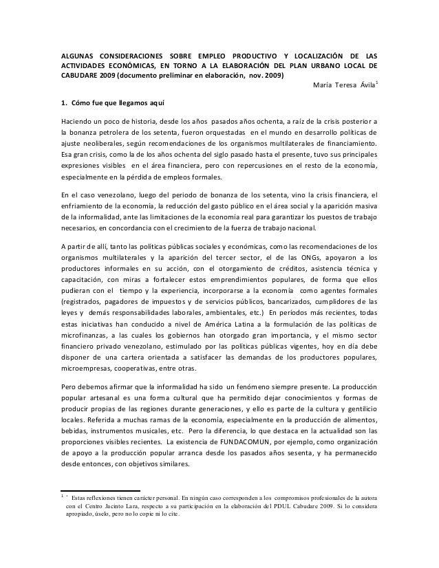 ALGUNAS CONSIDERACIONES SOBRE EMPLEO PRODUCTIVO Y LOCALIZACIÓN DE LAS ACTIVIDADES ECONÓMICAS, EN TORNO A LA ELABORACIÓN DE...