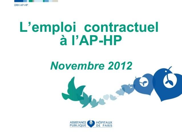 DRH AP-HP   L'emploi contractuel        à l'AP-HP            Novembre 2012