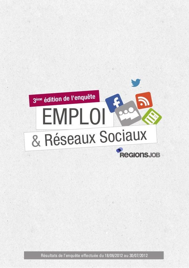 Emploi et réseaux sociaux : Enquête Regions Job - 3ème édition