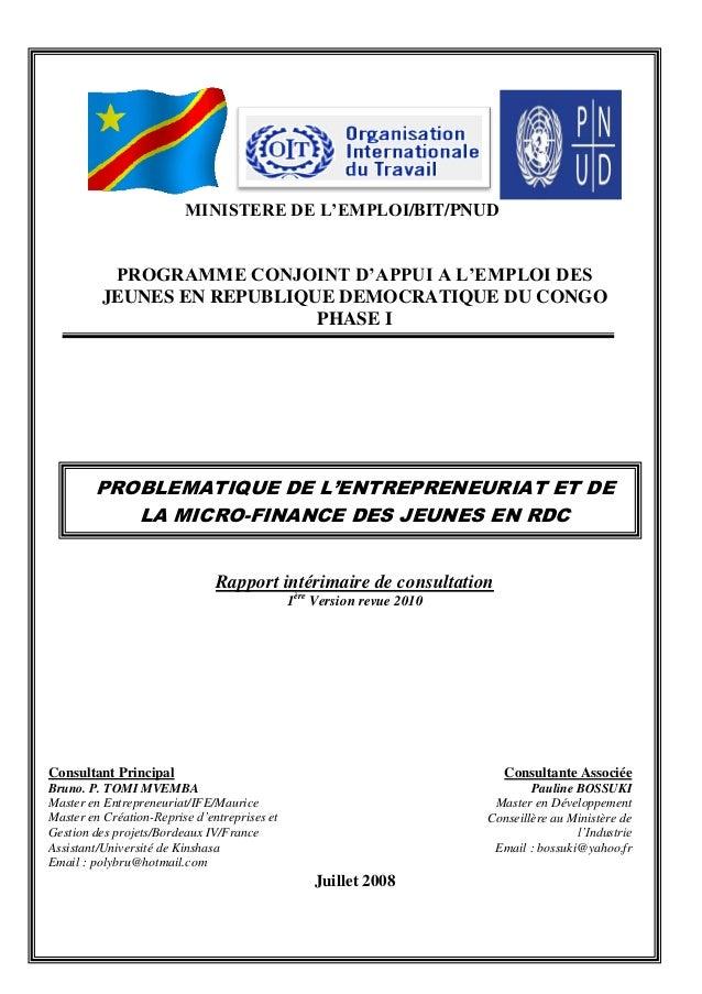 MINISTERE DE L'EMPLOI/BIT/PNUDPROGRAMME CONJOINT D'APPUI A L'EMPLOI DESJEUNES EN REPUBLIQUE DEMOCRATIQUE DU CONGOPHASE IPR...
