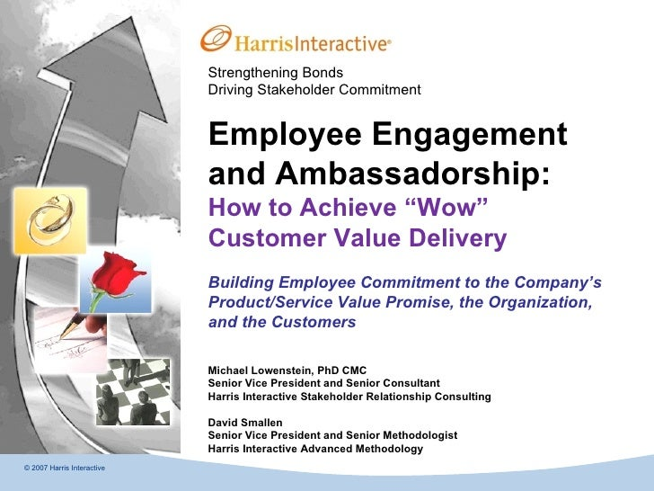 Strengthening Bonds Driving Stakeholder Commitment © 2007 Harris Interactive Employee Engagement and Ambassadorship:  How ...