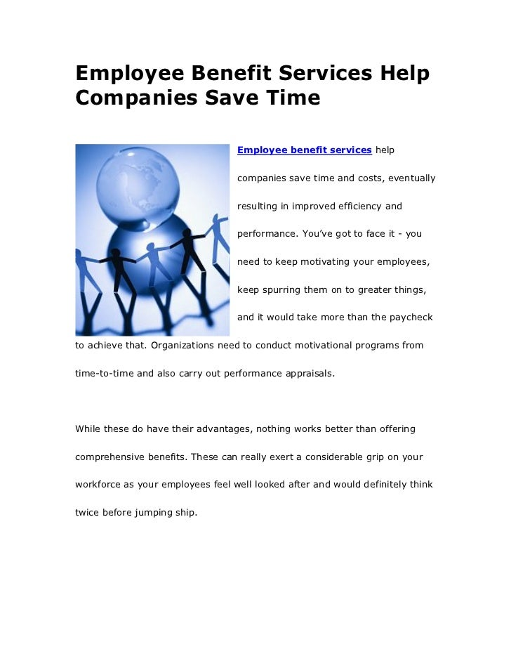 Employee Benefit Services Help Companies Save Time