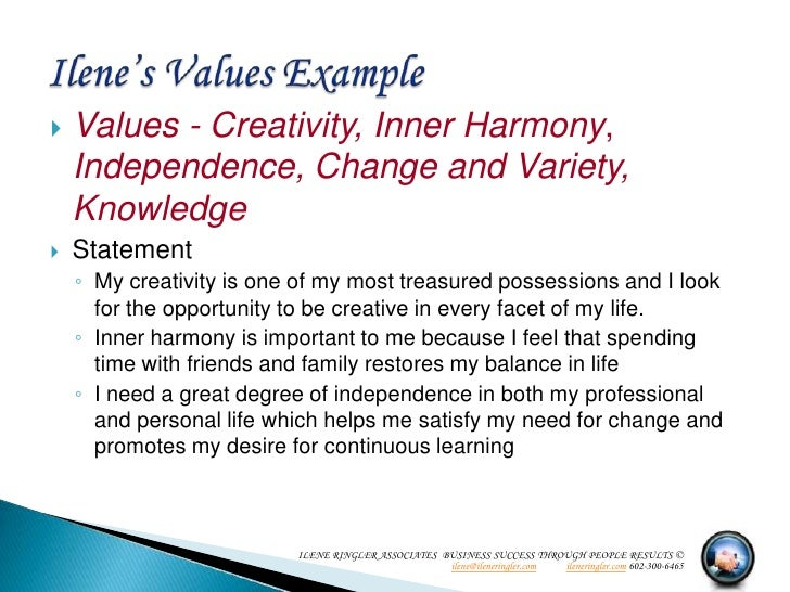 Personal value statement