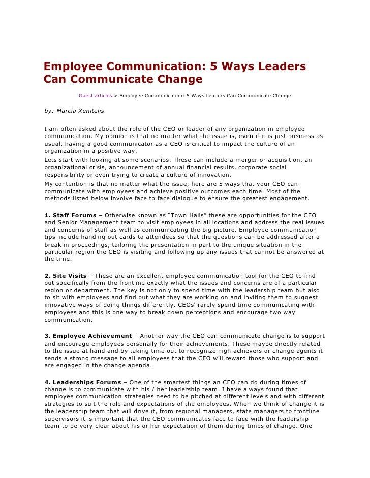Employee Communication: 5 Ways LeadersCan Communicate Change           Guest articles > Employee Communication: 5 Ways Lea...