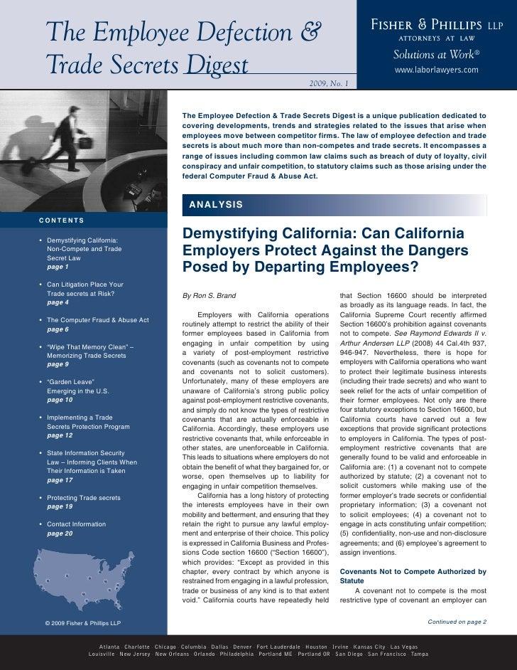Employee Defection & Trade Secrets Digest