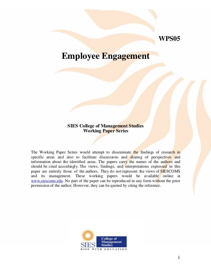 Employee Engagement Working Paper